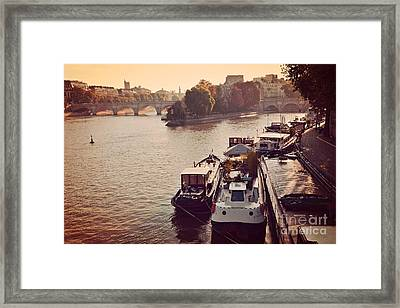 Paris Seine River Fall Autumn - Boats Along The Seine River Framed Print by Kathy Fornal