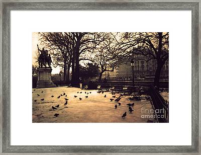 Paris Sepia Photography - Notre Dame Cathedral Courtyard Monuments Statues With Pigeons Framed Print by Kathy Fornal