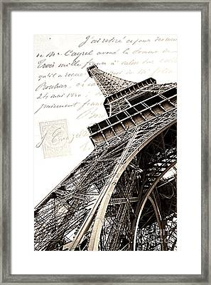 Paris Sepia Vintage Eiffel Tower With French Script Lettering - Letters From Paris  Framed Print by Kathy Fornal