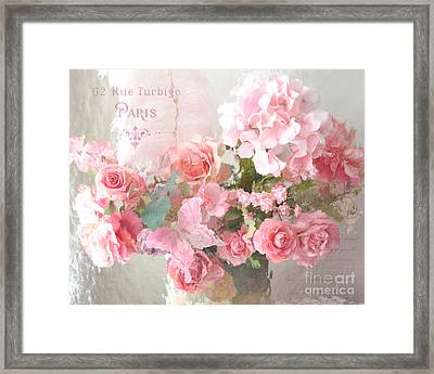 Paris Shabby Chic Dreamy Pink Peach Impressionistic Romantic Cottage Chic Paris Flower Photography Framed Print by Kathy Fornal