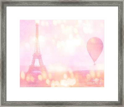 Paris Shabby Chic Romantic Dreamy Pink Eiffel Tower With Hot Air Balloon Framed Print by Kathy Fornal