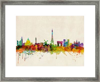 Paris Skyline Framed Print by Michael Tompsett