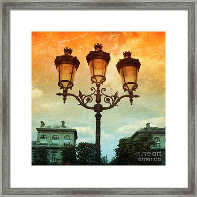 Paris Street Lamps With Textures And Colors Framed Print by Carol Groenen
