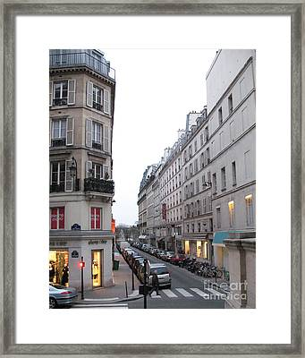 Paris Street Scenes - Paris Architecture Buildings Lights - Paris Winter Gray Street Photos Framed Print by Kathy Fornal