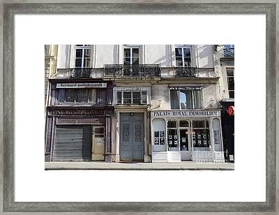 Paris Street Scenes - Paris Palais Royal Architecture Buildings - Paris Door Windows And Balconies Framed Print by Kathy Fornal