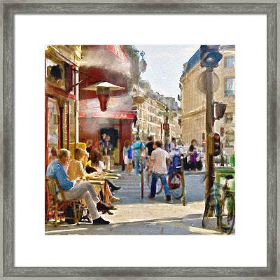 Paris Streetscape Watercolor Framed Print by Marian Voicu