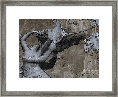 Paris - Surreal Angel Art - Eros And Psyche  Framed Print by Kathy Fornal