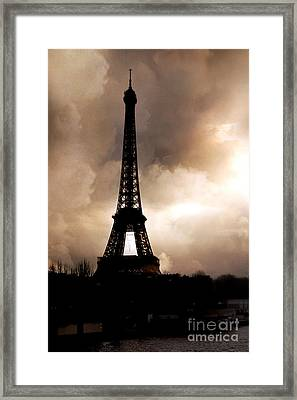 Paris Surreal Dreamy Eiffel Tower Sepia Print With Storm Clouds Framed Print by Kathy Fornal