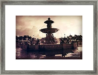 Paris Surreal Place De La Concorde Fountain - Paris Sunset Sepia Night Lights Fountain Square Framed Print by Kathy Fornal