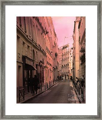 Paris Romantic Street Photography - Dreamy Paris Street Scene With Pink Sky Sunset Framed Print by Kathy Fornal