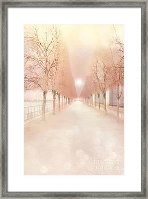 Paris Tuileries Row Of Trees - Paris Jardin Des Tuileries Dreamy Park Landscape  Framed Print by Kathy Fornal