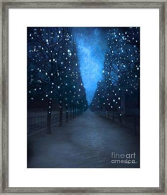 Paris Tuileries Trees - Blue Surreal Fantasy Sparkling Trees - Paris Tuileries Park Framed Print by Kathy Fornal