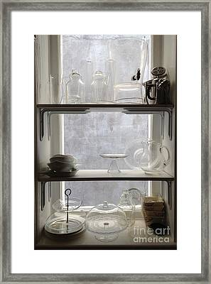 Paris Windows Kitchen Architecture - Paris Vintage Kitchen Window Ethereal Frosted Glass And Dishes Framed Print by Kathy Fornal