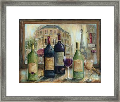Paris Wine Tasting With A View Framed Print by Marilyn Dunlap
