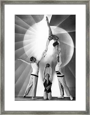 Parisian Acrobats Framed Print by Underwood Archives