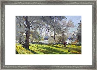 Park By Niagara Falls River Framed Print by Ylli Haruni
