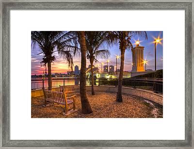 Park On The West Palm Beach Wateway Framed Print by Debra and Dave Vanderlaan