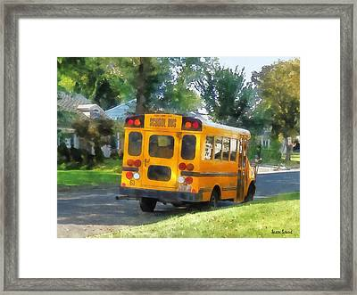 Parked School Bus Framed Print by Susan Savad