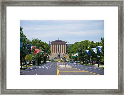 Parkway View Of The Museum Of Art Framed Print by Bill Cannon