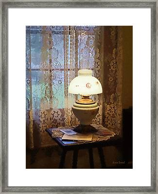 Parlor With Hurricane Lamp Framed Print by Susan Savad