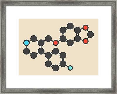Paroxetine Antidepressant Drug Molecule Framed Print by Molekuul