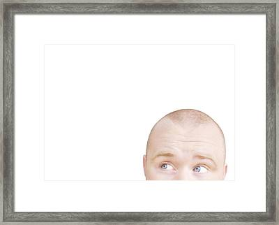 Part Of A Mans Head Looking Sideways Framed Print by Chris and Kate Knorr