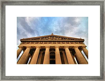 Parthenon From Below Framed Print by Dan Sproul