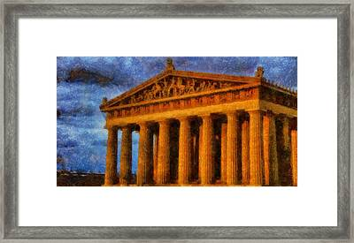 Parthenon On A Stormy Day Framed Print by Dan Sproul