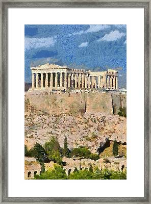 Parthenon Temple Framed Print by George Atsametakis