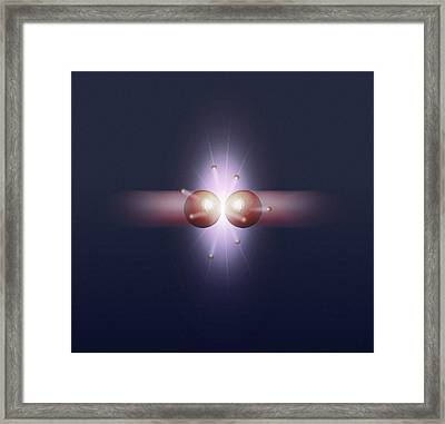 Particle Collision Creating Bosons Framed Print by Mikkel Juul Jensen