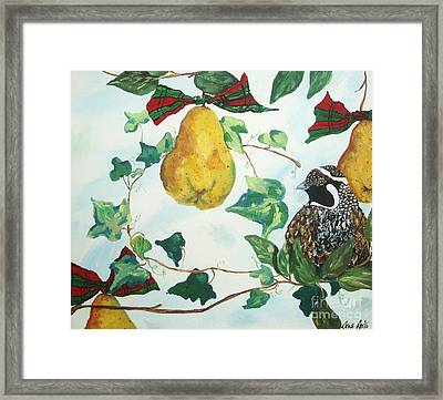 Partridge And  Pears  Framed Print by Reina Resto
