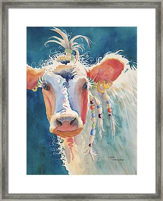 Party Gal - Cow Framed Print by Deb  Harclerode
