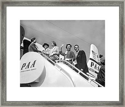 Passengers Board Panam Clipper Framed Print by Underwood Archives