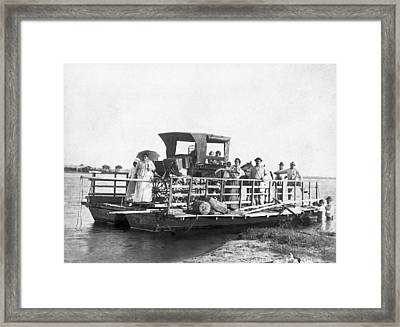 Passengers On A Ferry Framed Print by Underwood Archives