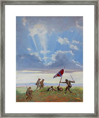 Passing On The Blood Stained Banner Framed Print by Sandra Harris