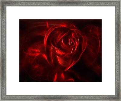 Passion Rose Bathed In Red - Abstract Realism Framed Print by Georgiana Romanovna