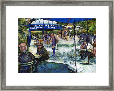 Passionate People Playing In The Park Framed Print by Gaye Elise Beda