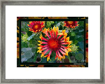 Passionate Pinwheels And Blooming Abstract Flower Art Framed Print by Omaste Witkowski