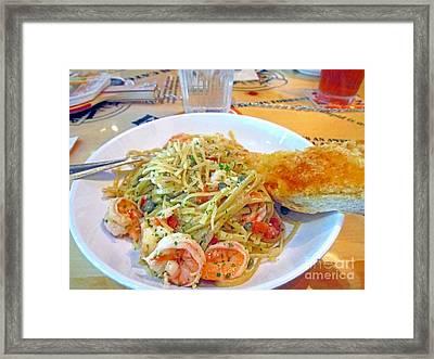 Pasta And Shrimp Framed Print by Kay Novy
