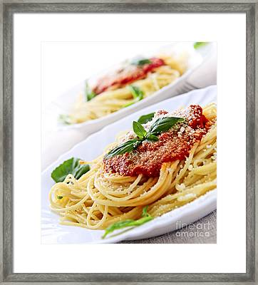 Pasta And Tomato Sauce Framed Print by Elena Elisseeva
