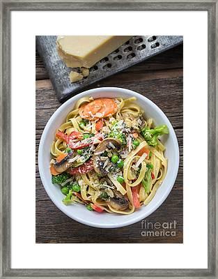 Pasta Primavera Dish Framed Print by Edward Fielding