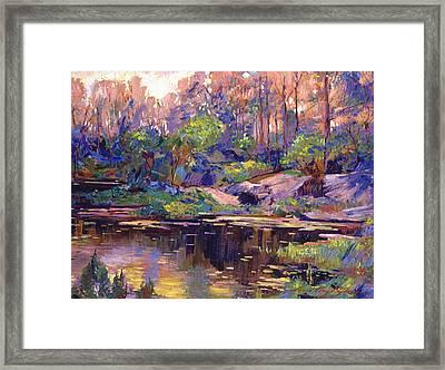 Pastel Lake At Dawn Framed Print by David Lloyd Glover