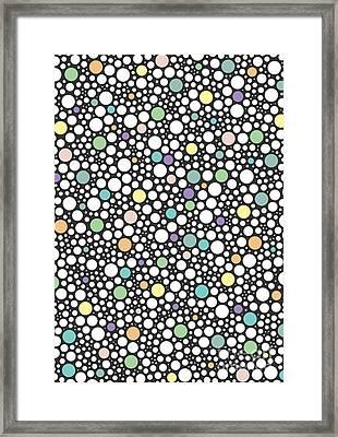 Pastel Puzzle Bubble Dark Gray Framed Print by Freshinkstain