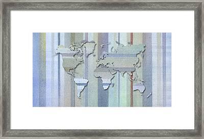 Pastel Stripes World Map Framed Print by Hakon Soreide