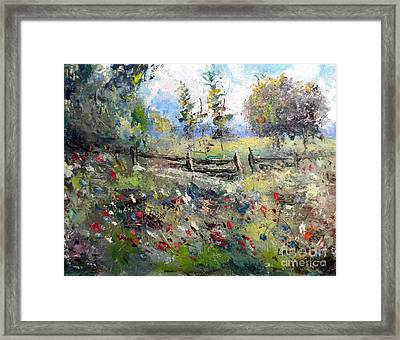 Pasture With Fence Framed Print by Lee Piper