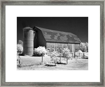 Patchwork Roof Barn Framed Print by Stephen Mack