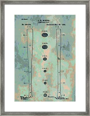 Patent Art Baseball Bat Framed Print by Dan Sproul