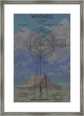 Patent Art Windmill And Mountains Framed Print by Dan Sproul