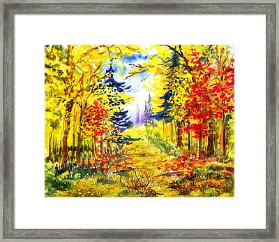 Path To The Fall Framed Print by Irina Sztukowski