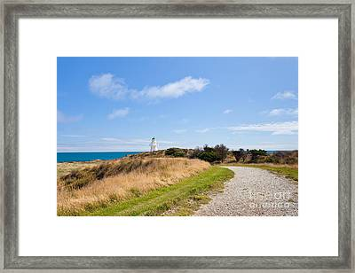Path To Waipapa Point Lighthouse The Catlins Of Nz Framed Print by Stephan Pietzko